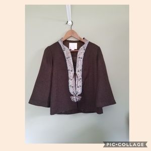 Rebecca Taylor brown embroidered jacket size 2